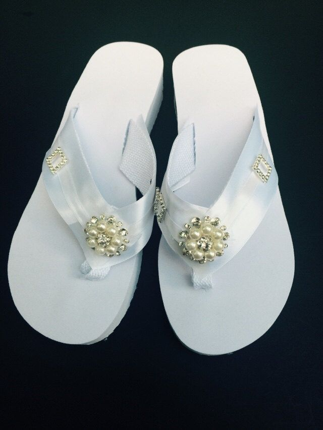 Bridal Flip Flops White Satin Platform with Pearl and Crystal ...