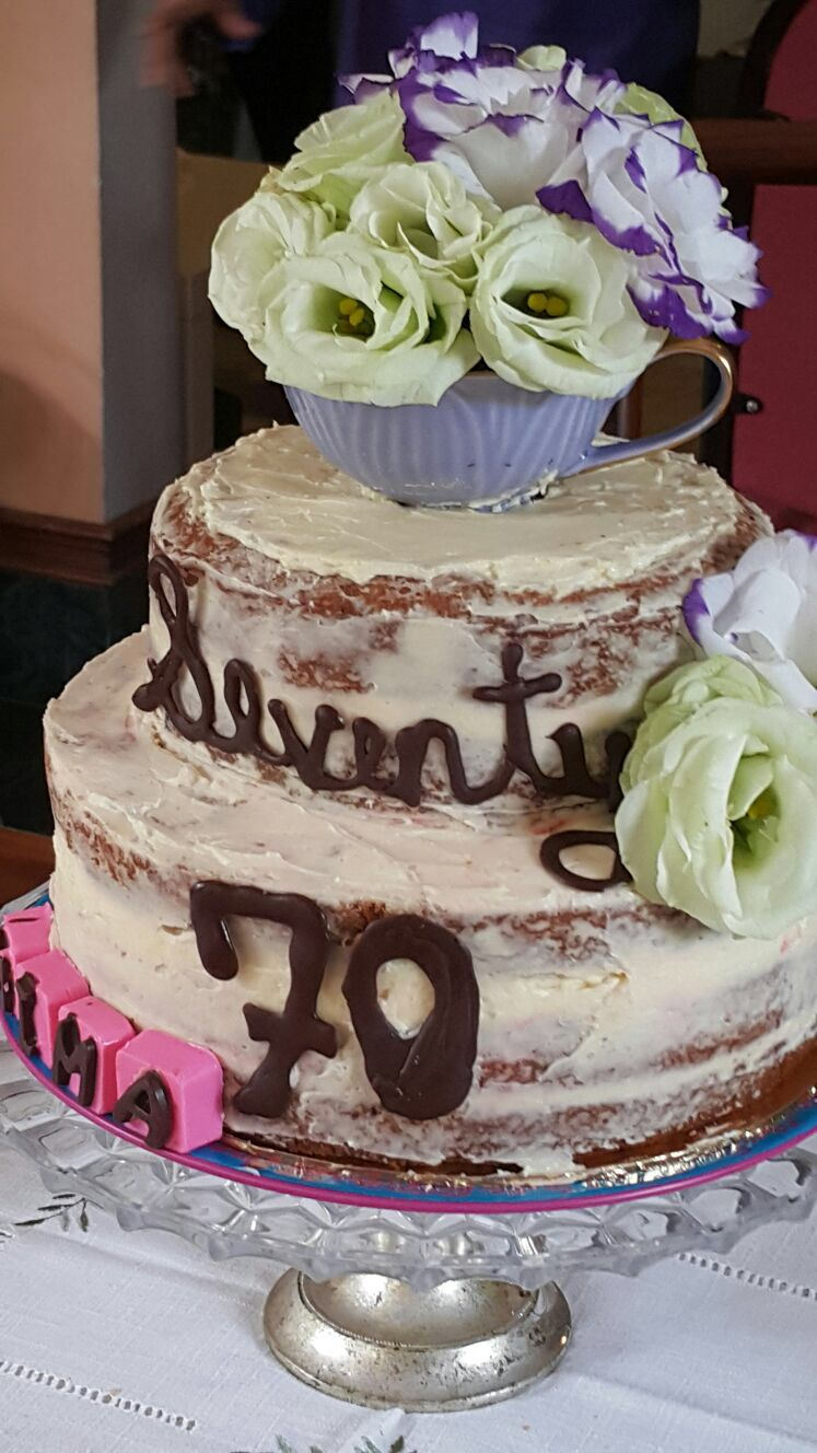 Homemade 70th Birthday Cake..naked carrot cake with cream cheese frosting