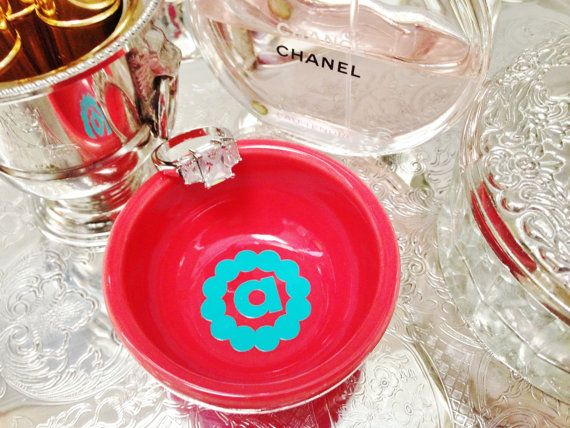 Dainty Monogrammed  Ring Dish by ArentYouCute on Etsy, $13.00