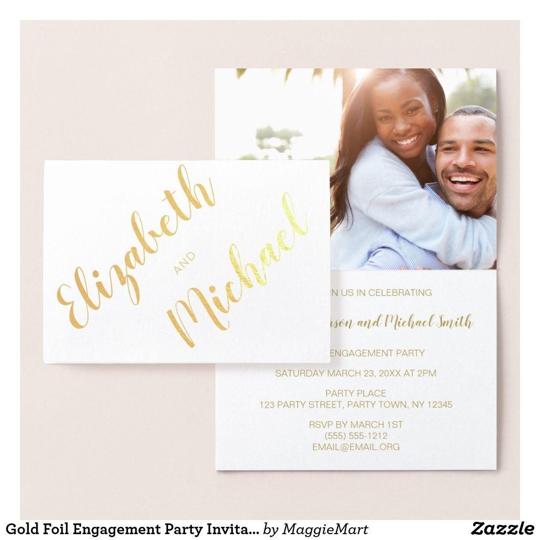 Gold Foil Engagement Party Invitation Photo Names