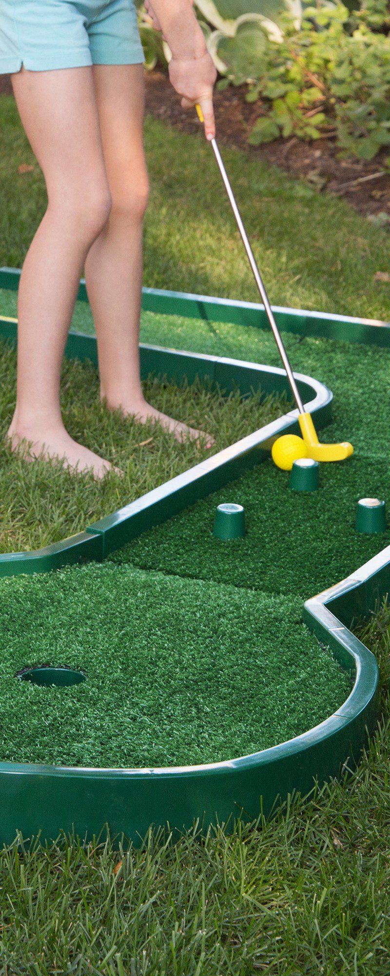Mini Golf Is As Close As The Next Room Or The Backyard This Reconfigurable Course Has 25 Possible Designs That Kids A Mini Golf Set Mini Golf Course Mini Golf