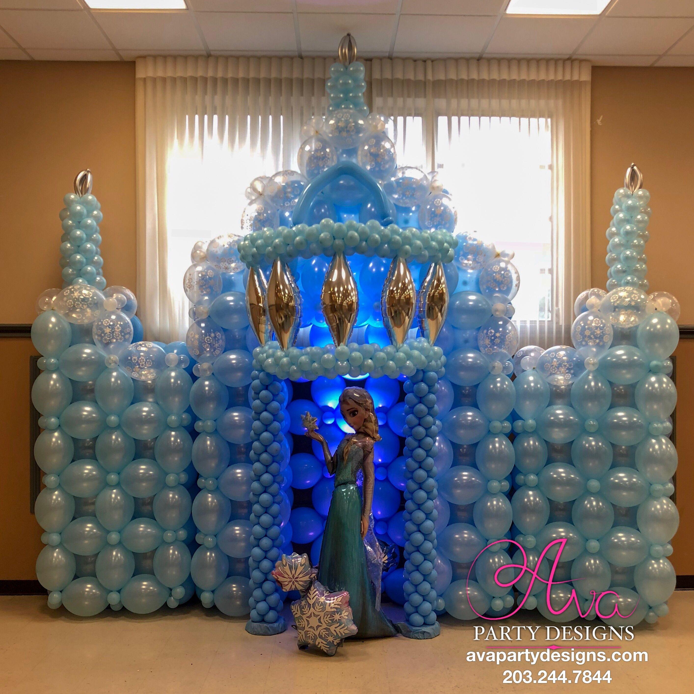 Balloon Castle Sculpture Frozen Ice Castle Balloon Decoration Balloon Backdrop Ideas Balloon Decorations Party Frozen Balloon Decorations Balloon Decorations
