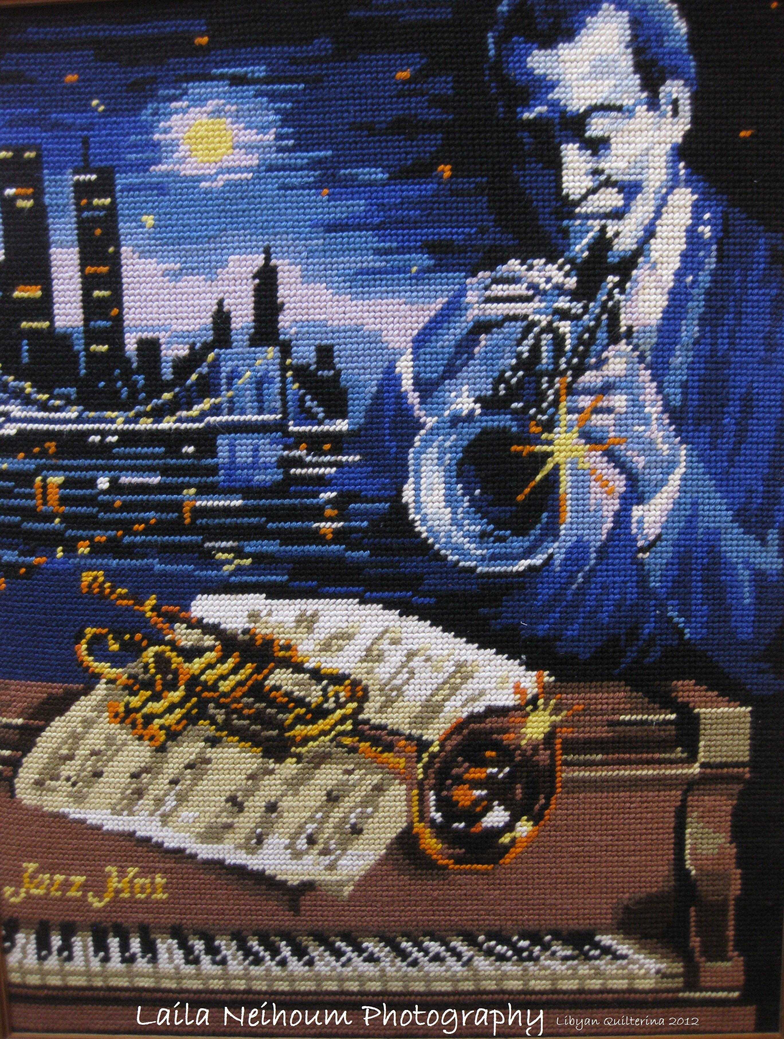 A musical vintage cross stitch piece