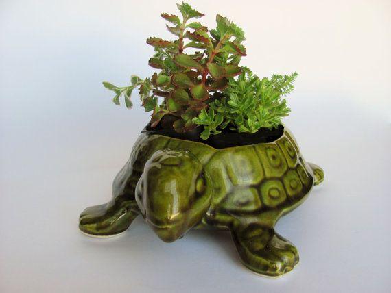 Vintage Turtle Planter California USA Pottery Green by OldLikeUs