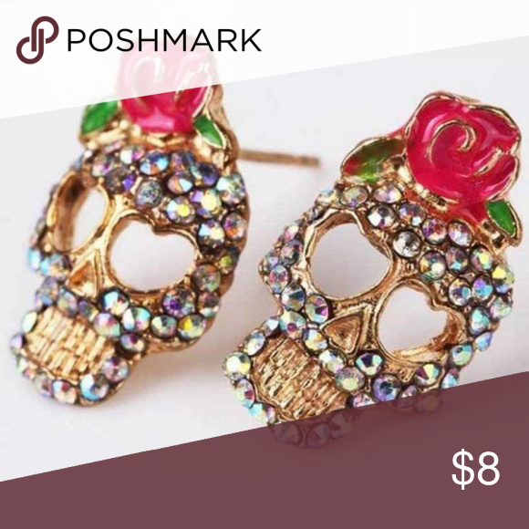 403ecff7548c ... post earrings featuring golden skulls covered in multi-colored  rhinestones and topped with an acrylic painted rose. These are a Wicked  Wonders FAVE!
