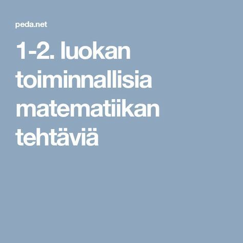 1-2. luokan toiminnallisia matematiikan tehtäviä
