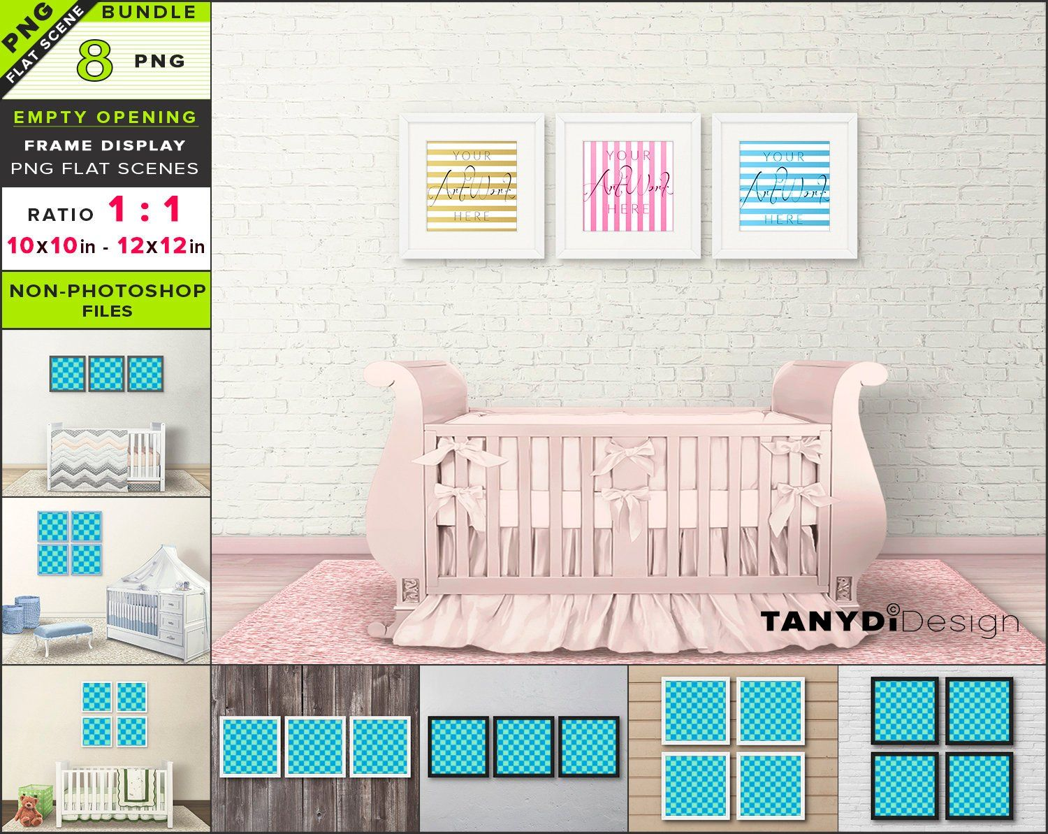 Square Blank Frame On Nursery Wall 8 Png Interior Scenes Mockup Bundle Empty Opening Set Of 3 4 Frames On Wall B F11 Rw 3 Frames On Wall Nursery Walls Interior