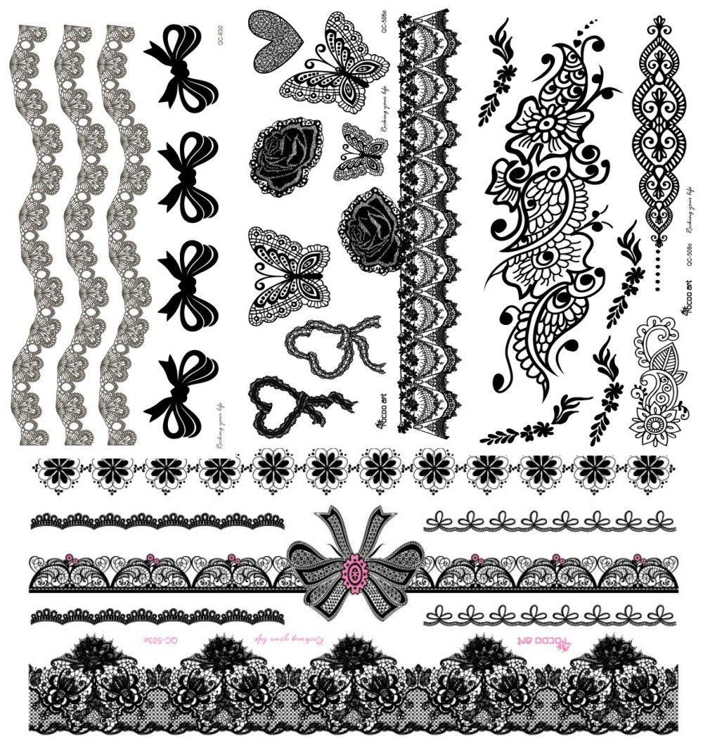 4Pcs/lot Black Henna Lace Tattoo Stickers ,Flower Henna