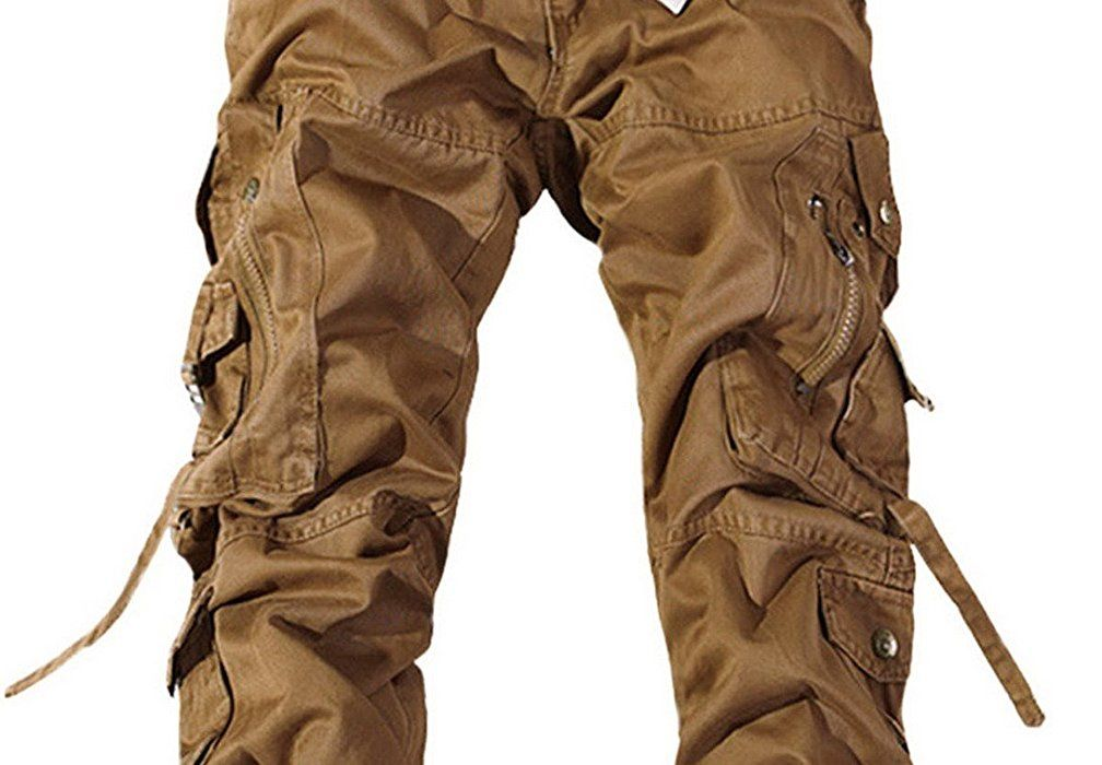 Feoya Herren Freizeithose Wasserwäsche Cargohose Mehrere Tasche Ranger  Hosen aus Baumwolle Loose-Fit Outdoor Arbeitshosen f6d4d65178