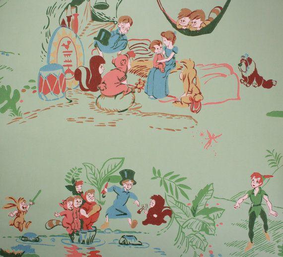 1950u0027s Vintage Wallpaper Walt Disney Peter Pan By RosiesWallpaper   #3  Nursery   Pinterest   Disney Peter Pans, Vintage Wallpapers And Peter Pans
