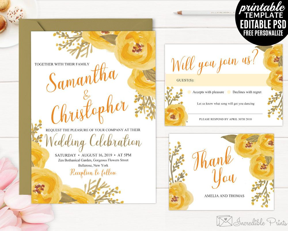 Yellow Watercolor Roses Wedding Invitation Set Template Printable