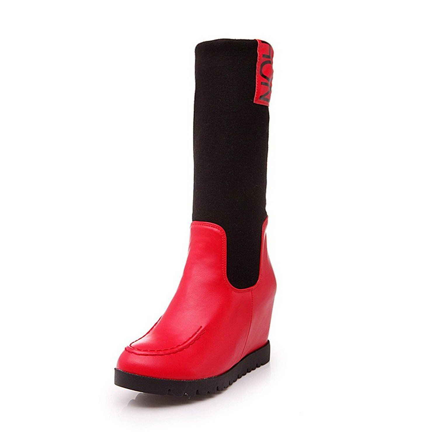 Weipoot Women S Kitten Heels Round Toe Elastic Fabric Mid Top Boots Continue To The Product At The Image Kitten Heel Boots Boots Women S Over The Knee Boots