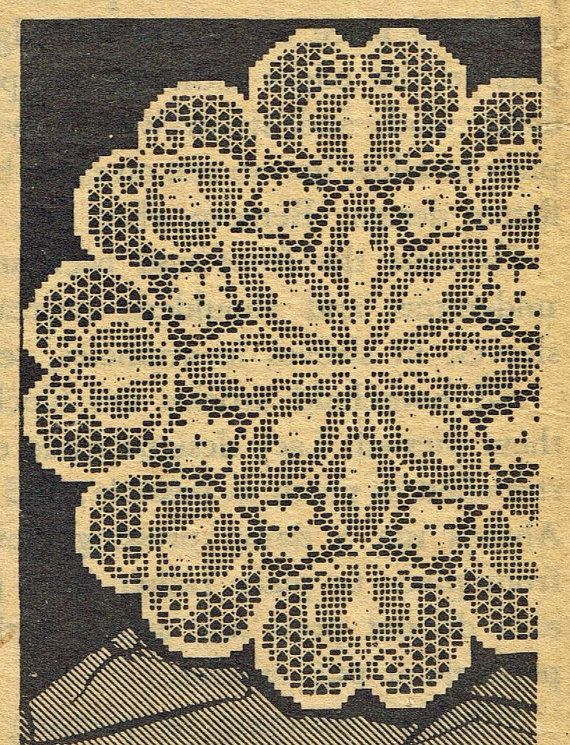 Old Crochet pattern 543 Filet Doily with Flowers and Leaves in the deisgn sizes 18 13 26 20 inches PDF instant download