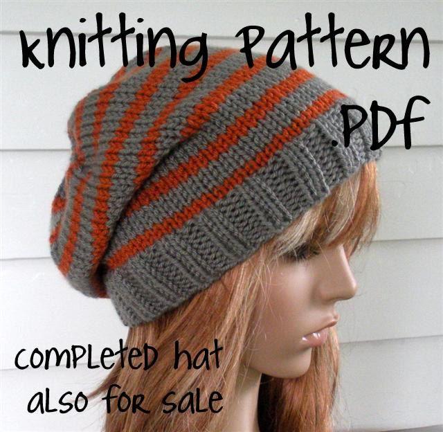 Knit Slouchy Beanie PATTERN, Knit Hat Pattern, Chunky Easy, Unisex, winter,  ski, teen