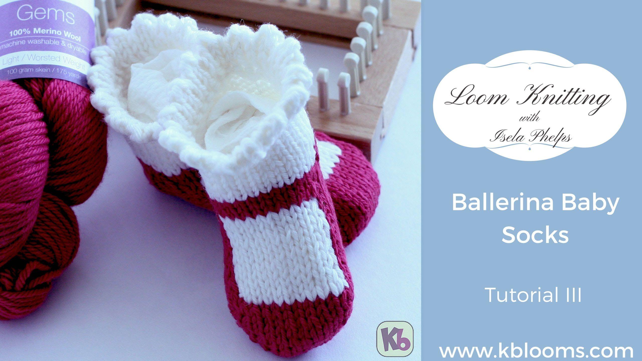 Loom Knitting Ballerina Baby Socks Tutorial 3