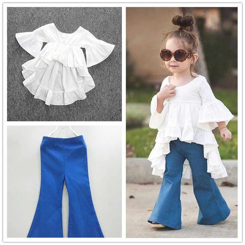 2PCS Toddler Baby Girl Kid Solid Long Sleeve Top T Shirt Flared Pants Outfit Set