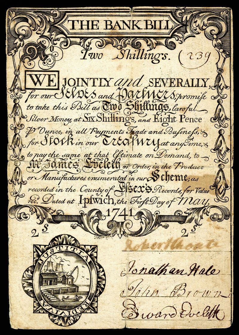 Money - A two shilling note from Colonial Massachusetts
