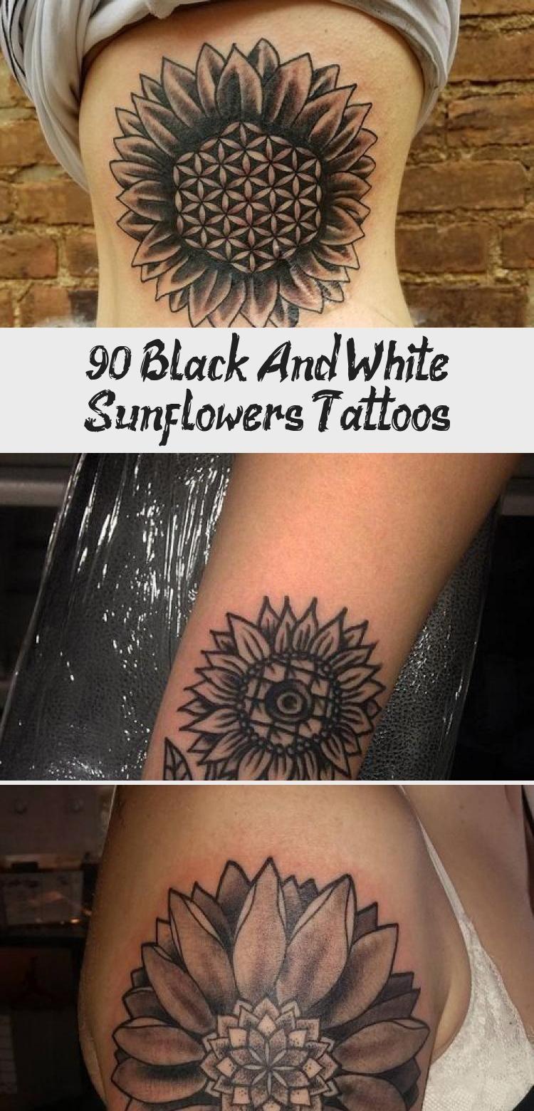 Photo of 90+ Black and White Sunflowers Tattoo Design Ideas #blacktattooSketch #blacktatt…