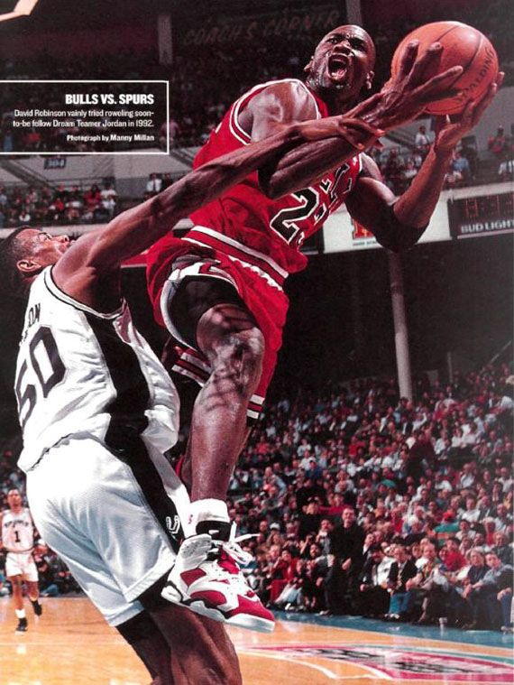90596dd74582c Michael Jordan Fouled in Mid Air by David Robinson