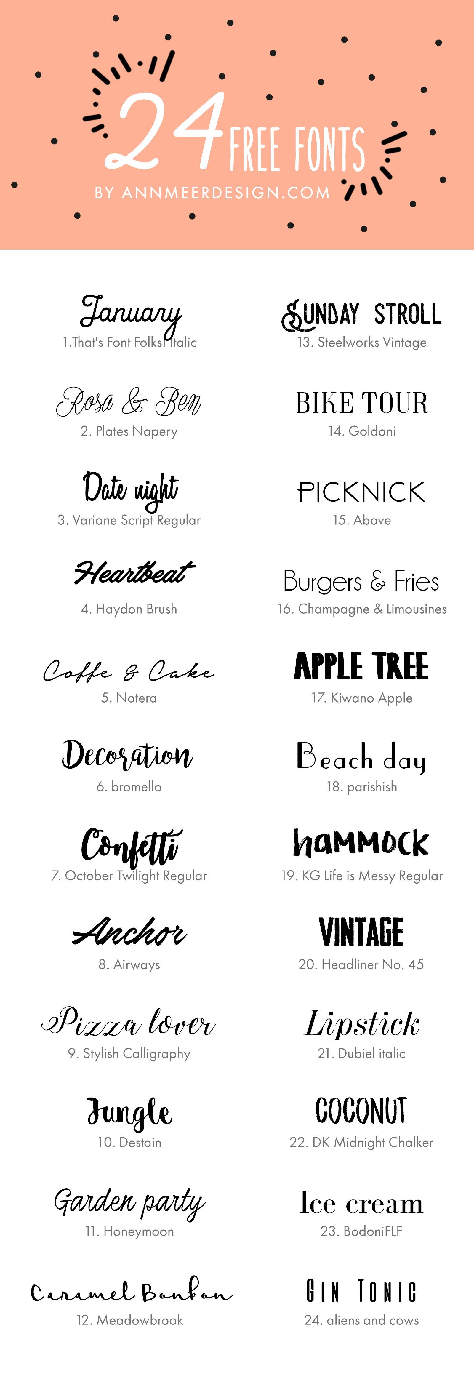 24 FREE FONTS by annmeerdesign.com | DESIGN | Pinterest | Fonts ...