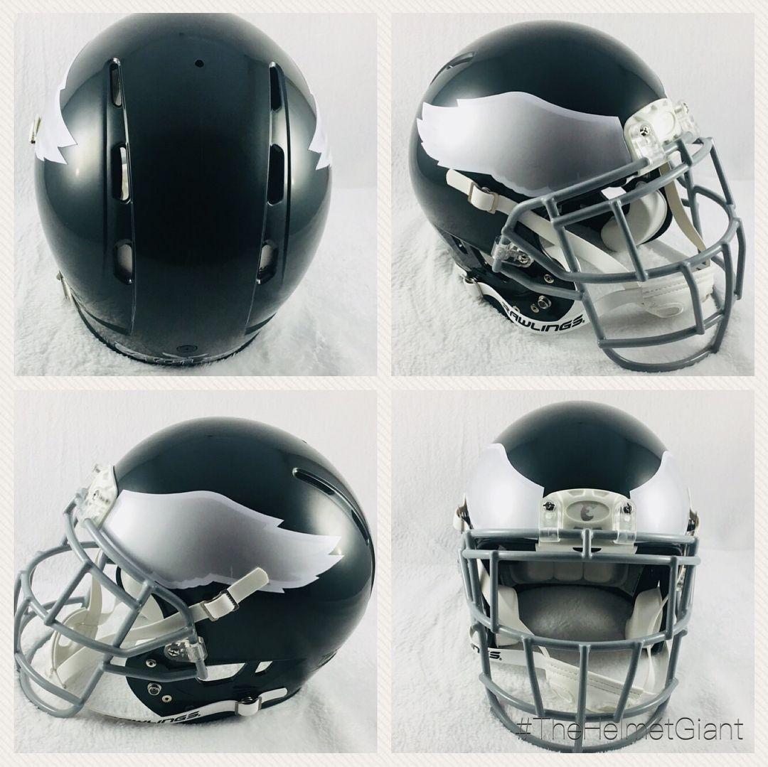 Custom Philadelphia Eagles Concept Helmet Dark Green Rawlings Helmet With Silver And White Throwback Decals And A Cust Eagles Helmet Football Helmets Nfc East