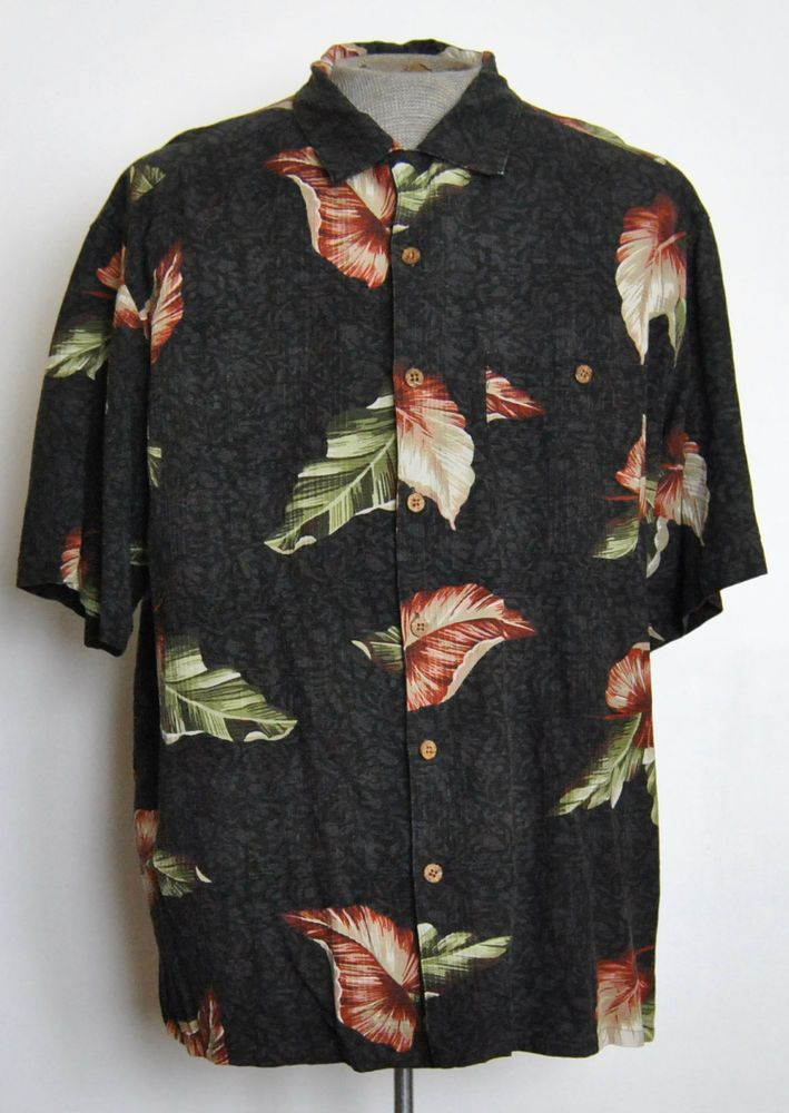 62828da77 Island Republic Shirt XL Mens Hawaiian Gray Floral Silk Blend Short Sleeve  #IslandRepublic #Hawaiian free shipping Buy Now $14.99