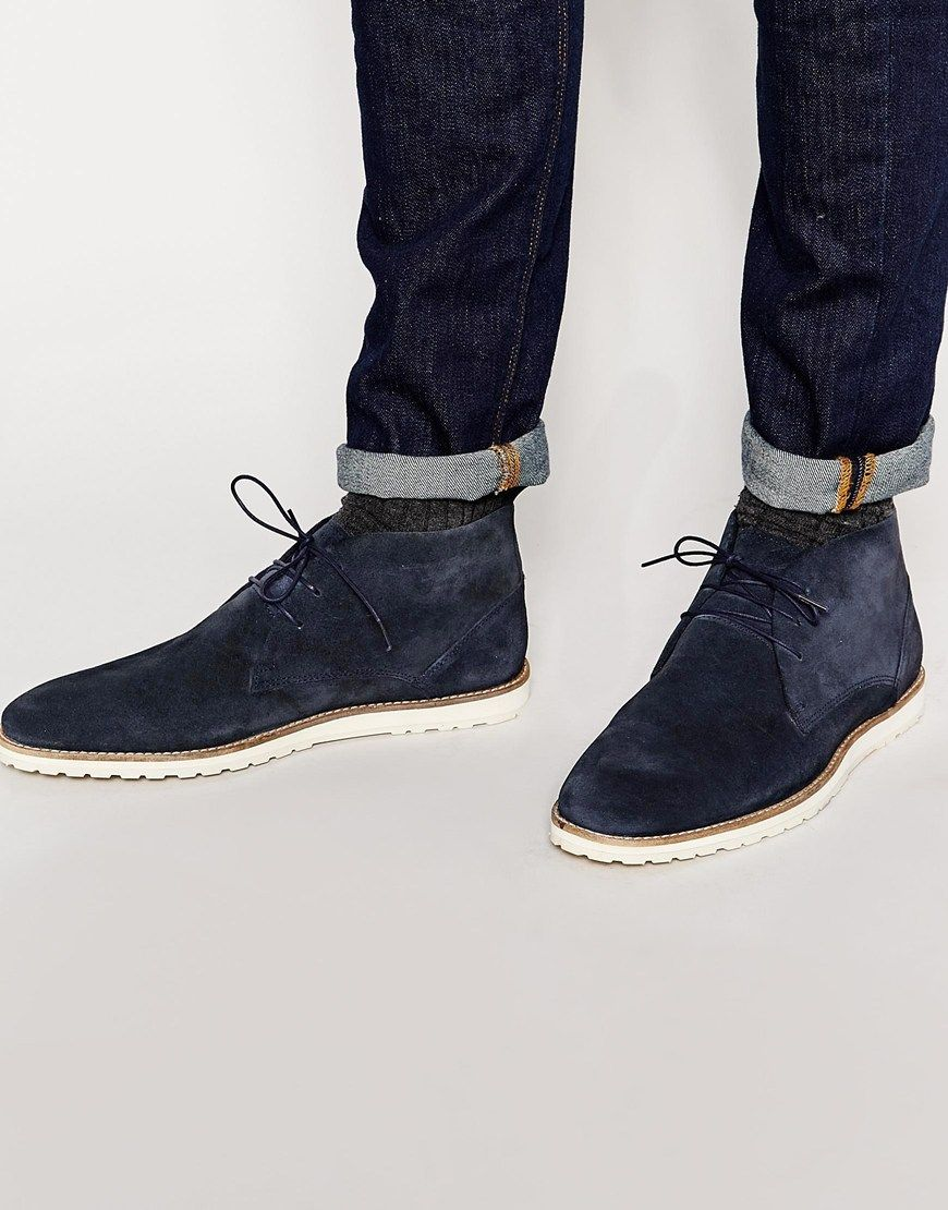 6065fa01dae Desert Boots in Navy Suede | Mens Boots | Mens suede boots, Boots ...