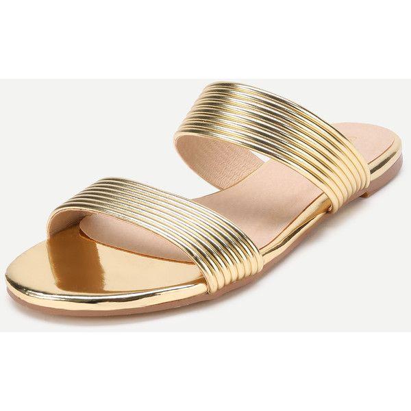 2fc1decabb7f SheIn(sheinside) Metallic Striped Slide Flat Sandals (£21) ❤ liked ...