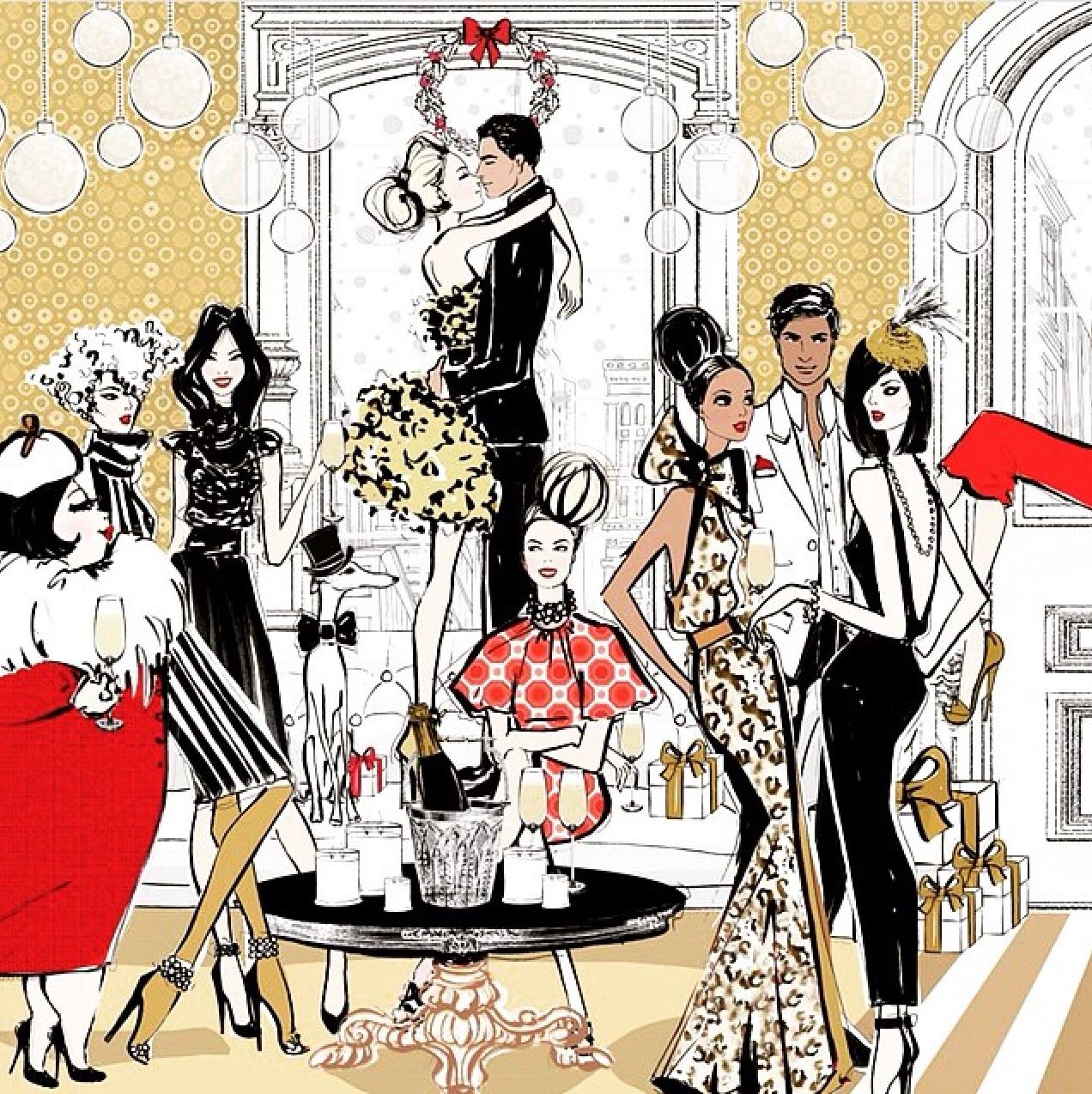 "Megan Hess ""holiday cocktail party"" Megan hess illustration"