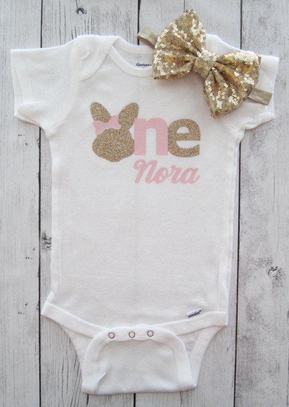 Some Bunny is One One Bunny Custom Birthday Easter Shirt Bunny Birthday shirt BOY Birthday Set First Birthday First Birthday Onesie\u00ae