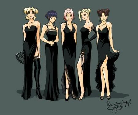anime girls in prom dresses