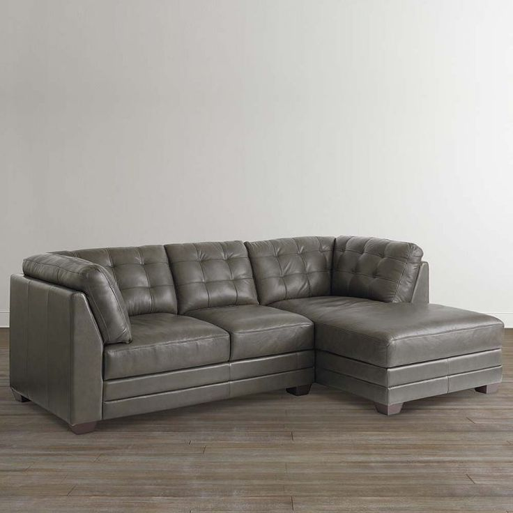 Grau Leder Sectional Sofa