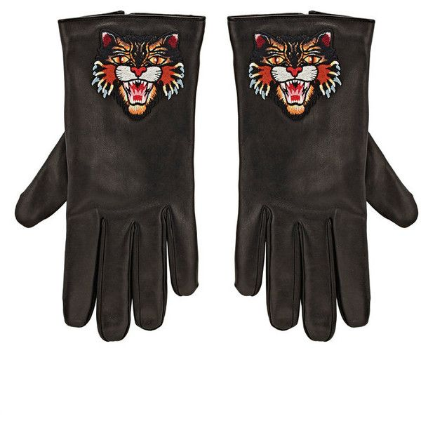 bbb75ae57ac Gucci Men s Angry-Cat-Embroidered Leather Gloves ( 630) ❤ liked on Polyvore  featuring men s fashion