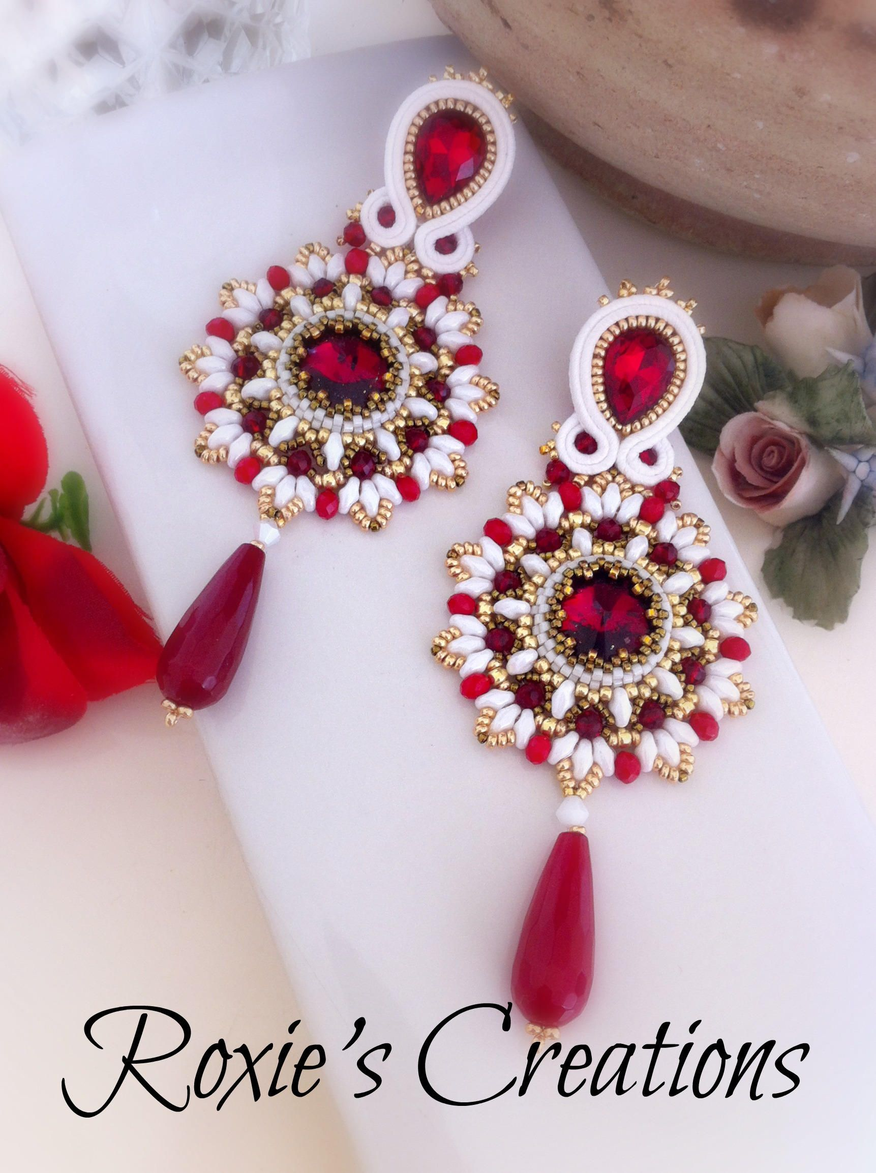 Di Mano In Mano Espinasse red earrings, white earrings, long earrings, red agate, red