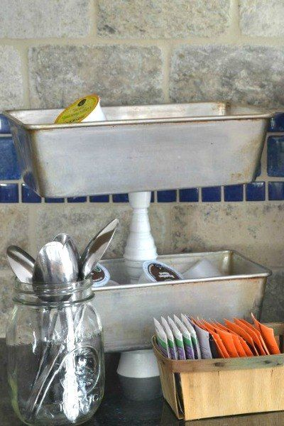 s 19 random thrift store finds become outrageously awesome decor, home decor, repurpose household items, repurposing upcycling, Metal Trays to Coffee Corner After