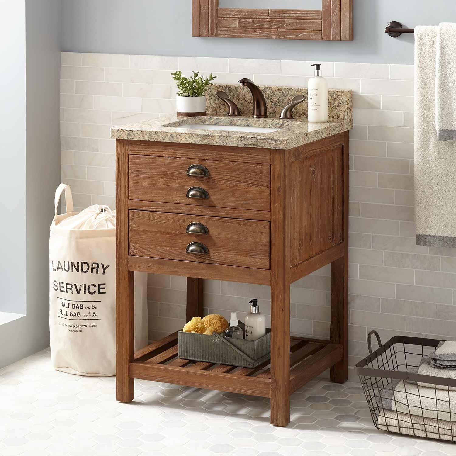 24 Benoist Reclaimed Wood Console Vanity For Rectangular Undermount Sink