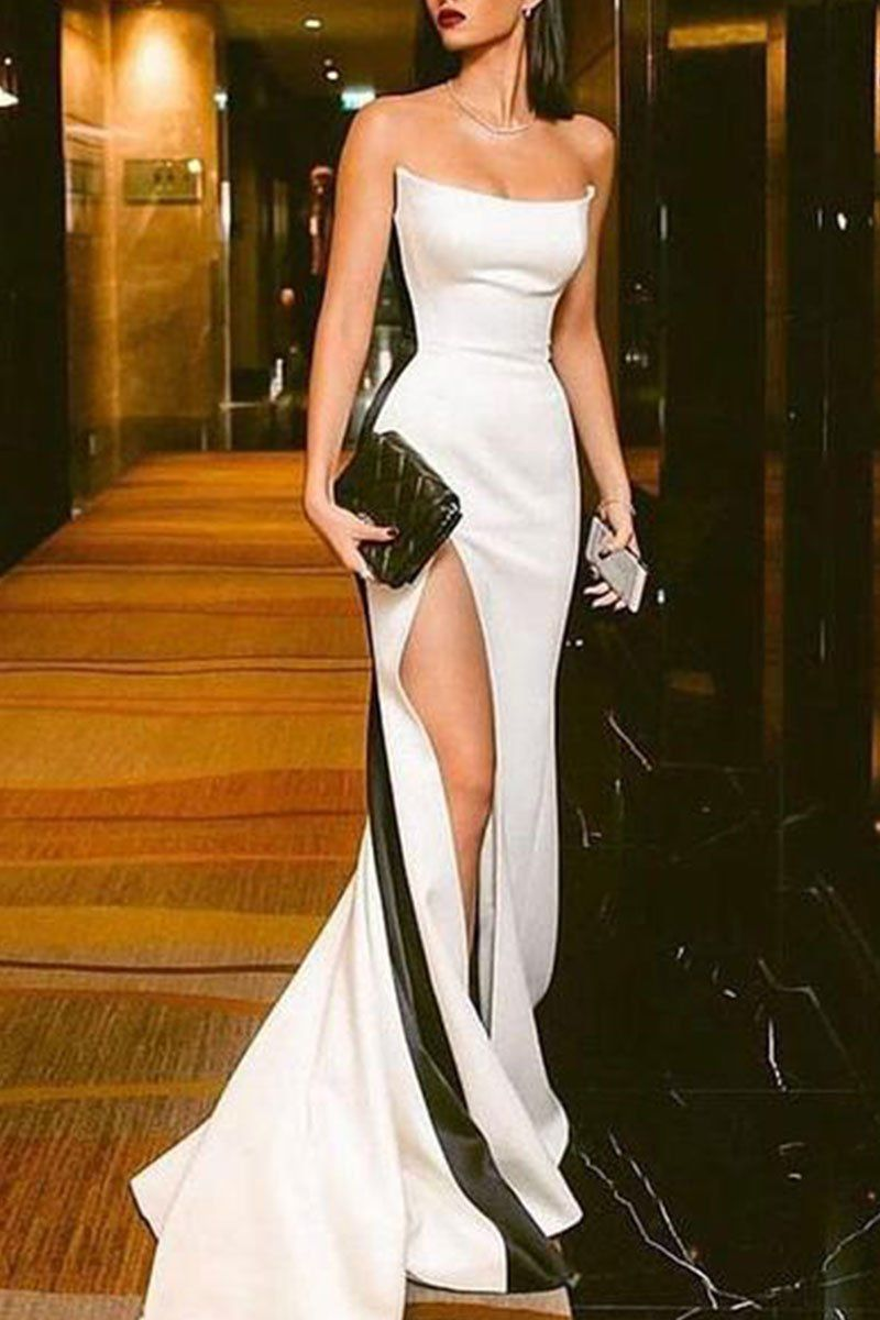 Black And White Stitching Evening Dress #dreamdates