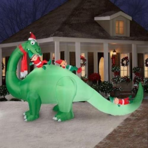 Cheap Inflatable Yard Decorations: 7x12ft Dinosaur & Elves Outdoor Lighted Inflatable