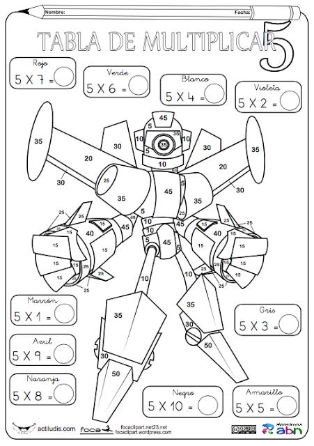Fichas para colorear y jugar con las tablas de multiplicar, en el ...
