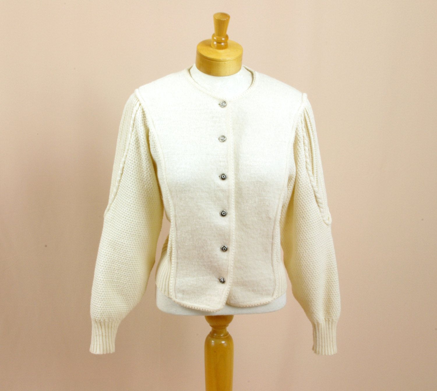 80s Cream Boiled Wool Cardigan * Cream Cardigan * Boiled Wool ...