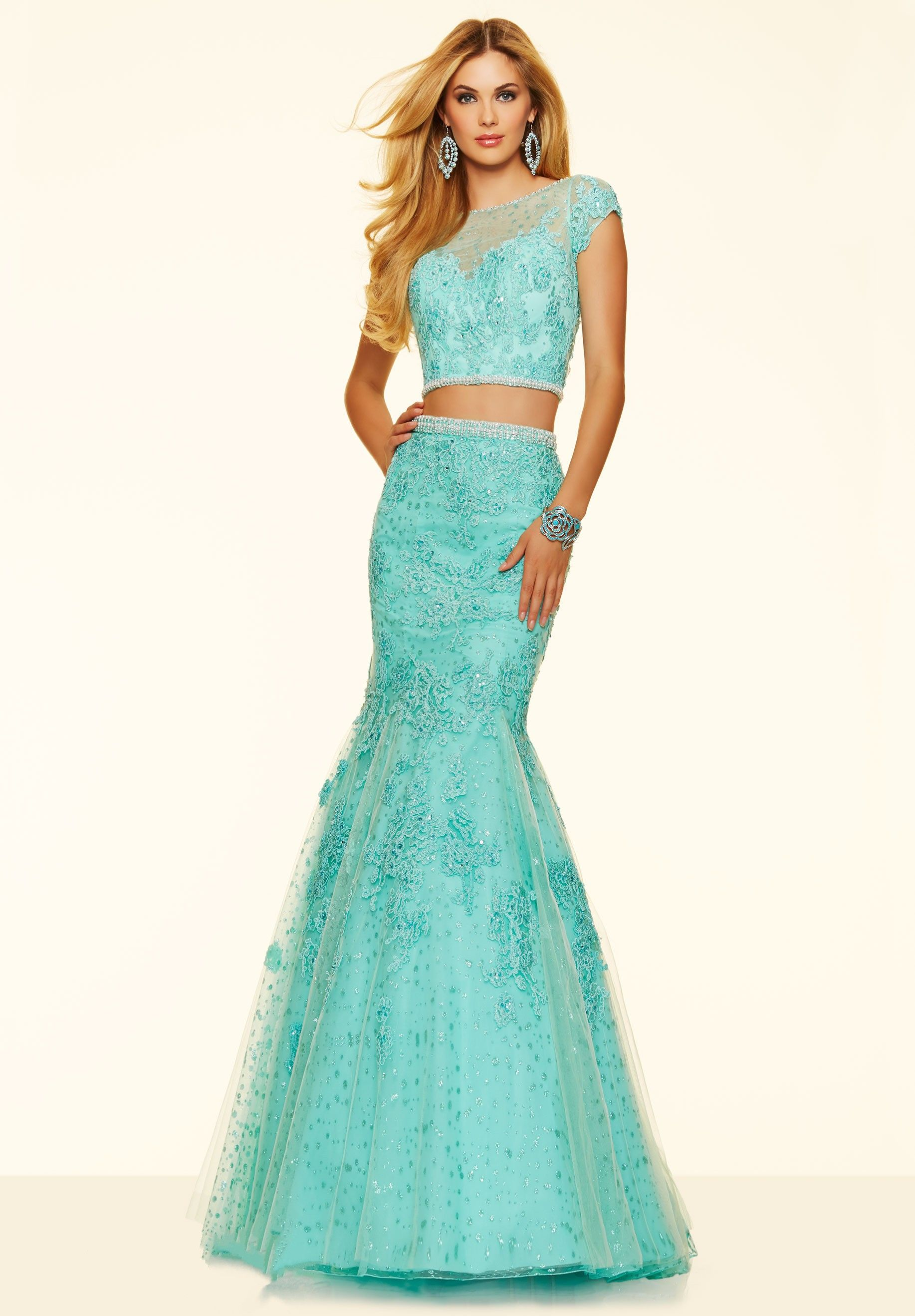 Wishesbridal Blue Illusion #Lace Two Piece Crop Top Trumpet #Mermaid ...