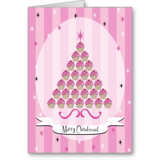 Adorable pink cupcakes girly Christmas card