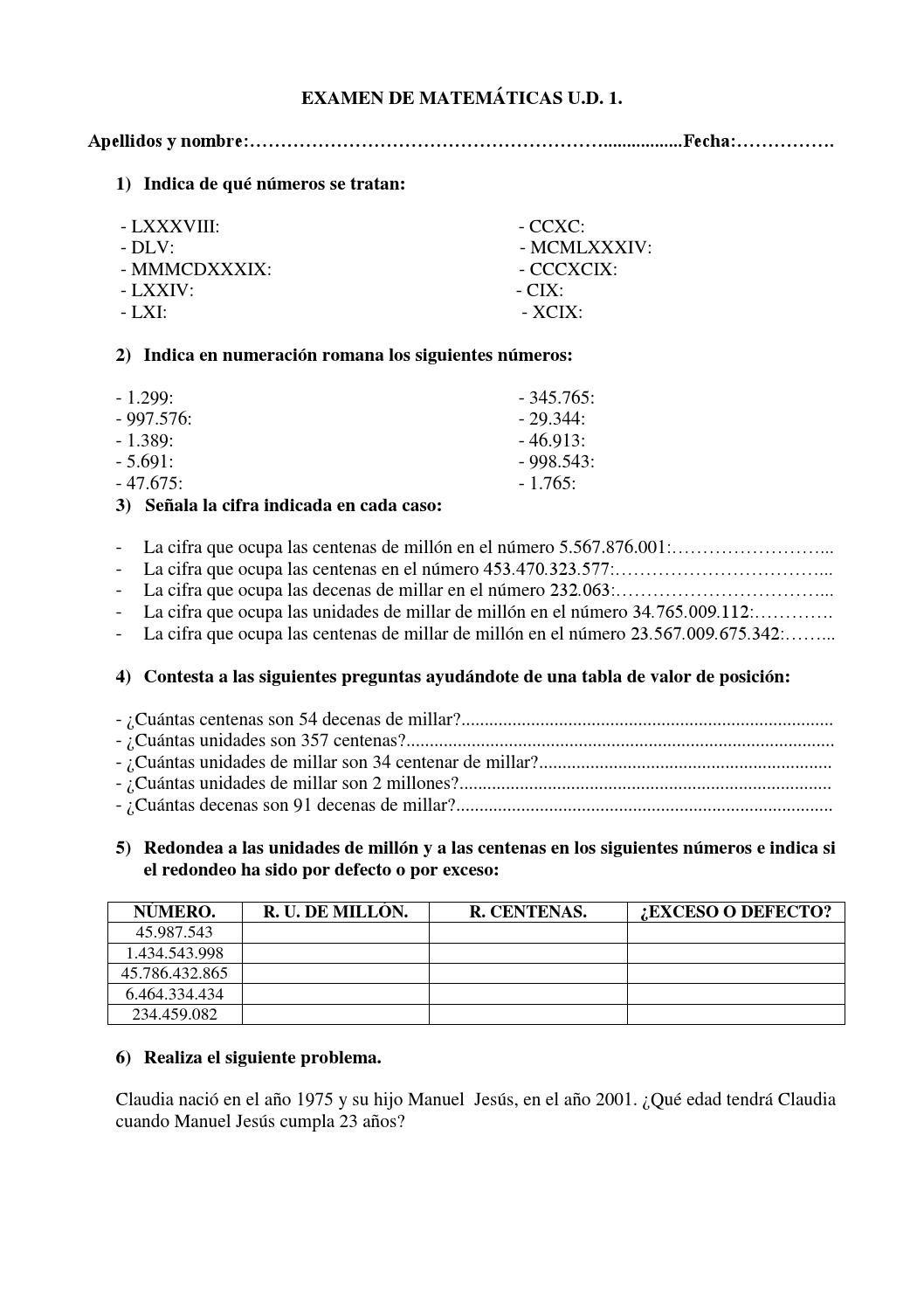 Como Se Escribe 91 En Numeros Romanos examen matemáticas 1º eso tema 1 | exámen de matemáticas
