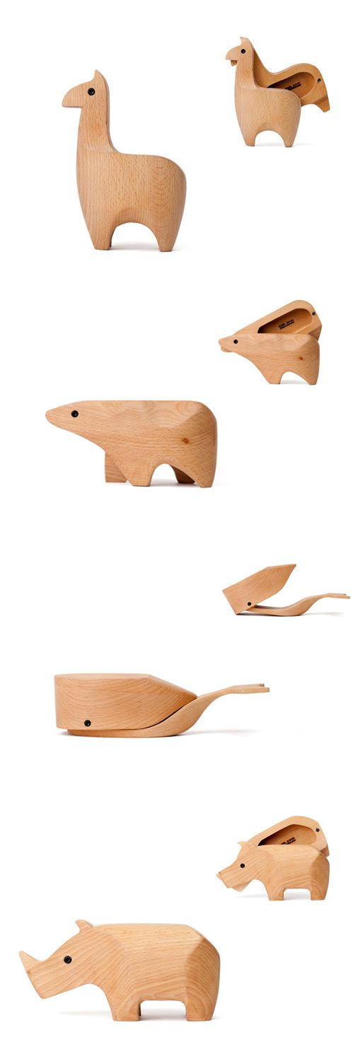 cute wooden animal boxes