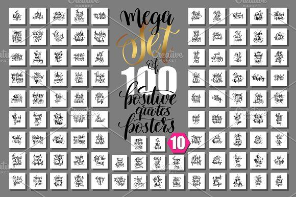 Set Of 100 Positive Summer Quote Templates Mega Set Of 100 Hand Written  Lettering Positive Quotes Posters About Happy Summer, Motivation And In By  ...