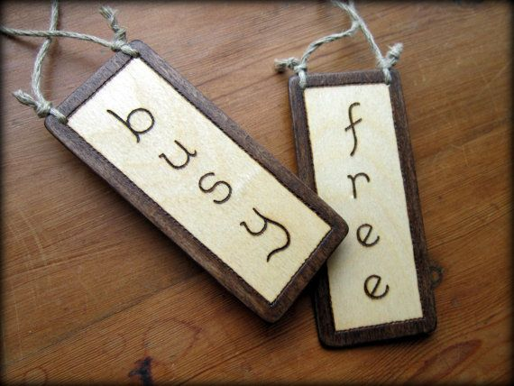 free busy REVERSIBLE ENGRAVED handcrafted wood sign - Choice of ...