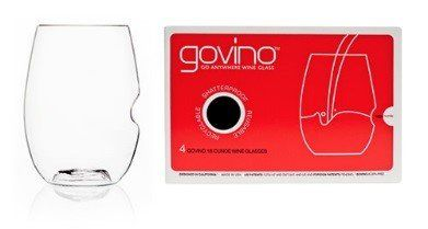"""Govino Wine Glass Flexible Shatterproof Recyclable, Set of 4  Govino Wine Glass Flexible Shatterproof Recyclable, Set of 4 The govino® """"Go AnywhereTM"""" Classic Series Wine Glass tote set of four, 16-ounce glasses is the ideal way to enjoy all types of wine whenever proper stemware isn't available, or in settings where breakable glass is simply impractical. govino is made of an ultra-thin, flexible BPA-free polymer, which reflects a wine's color and projects its aromatics much like fin.."""