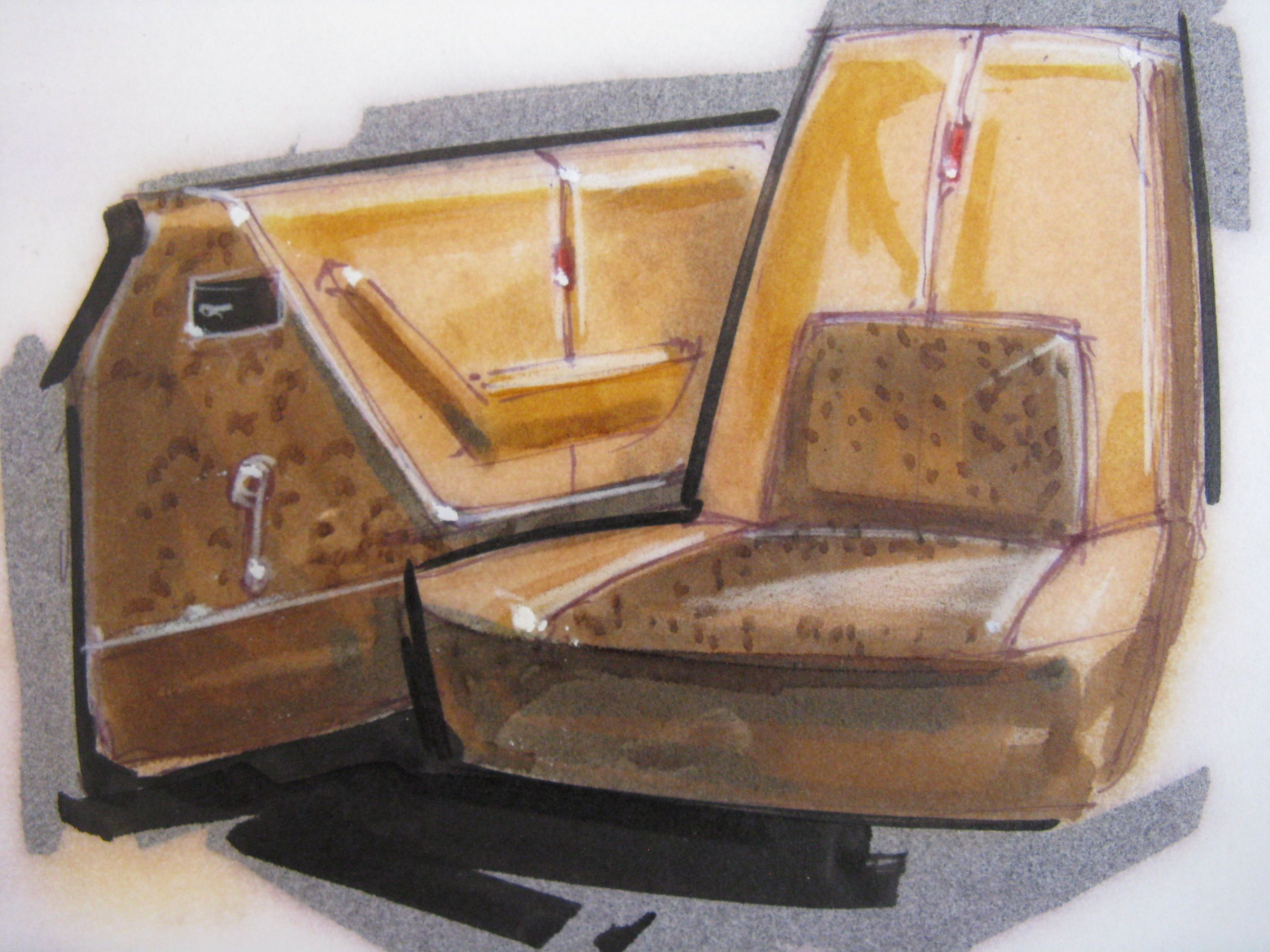 9 X 12. Sketch paper; brown and tan interior seat and door sketch; prismacolor, ink & gouache; Original Gump; not signed; late 70's or 80-ish.