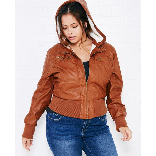 e55dd0c8c Ambiance Apparel Faux Leather Bomber Jacket With Sherpa Lining ($37 ...