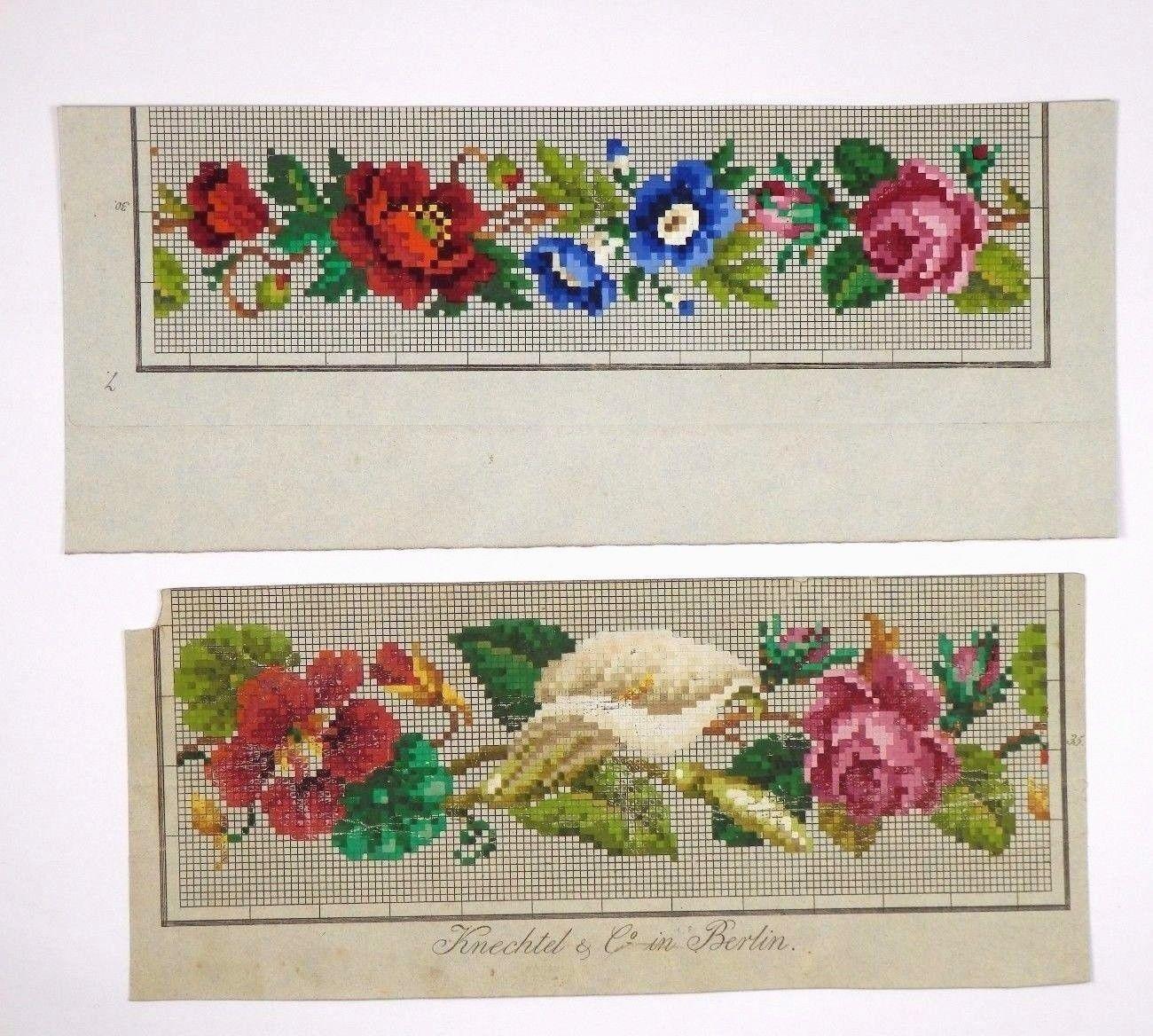 Antique berlin woolwork hand painted chart 19th cent - Farbkarten kostenlos ...
